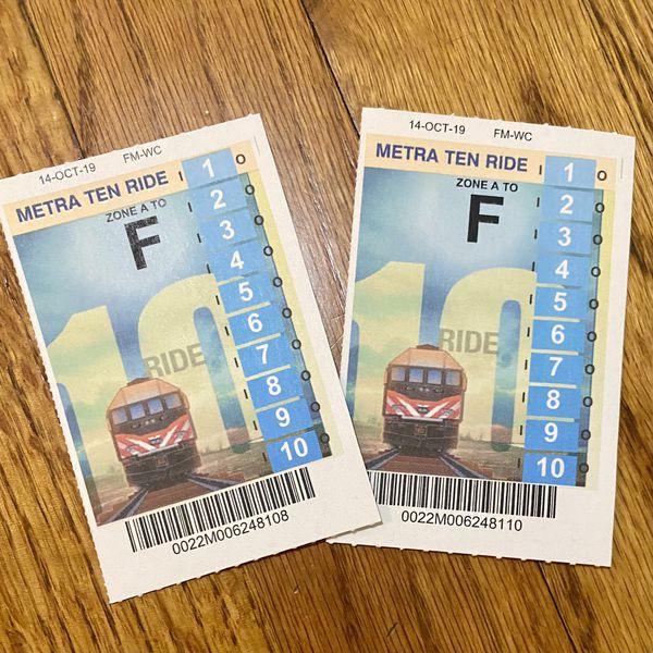 Metra 10 ride tickets at half price. Expiring in Oct