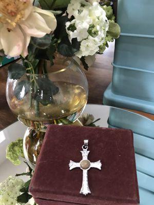 Pretty! Silver Cross Pendant with Stone for Sale in Gainesville, VA
