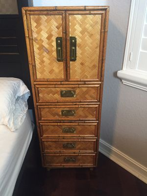Antique mid century bamboo cabinet with 5 drawers for Sale in Pompano Beach, FL