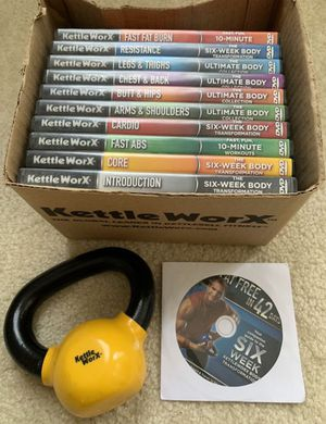 NEW Kettle WorX Set of 11 workout DVDs and 5 lb. Kettlebell hubby had surgery only used 1) ❗️IF POSTED THEN AVAILABLE ❗️exercise fitness for Sale in Plainfield, IL