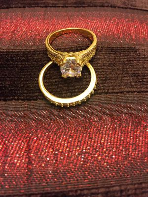 18K Gold plated Engagement/Wedding Ring set - Solitaire Diamond 💍 for Sale in Sacramento, CA