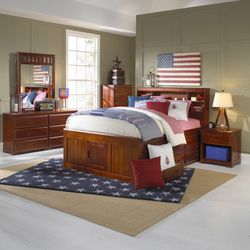 Captain's bed twin size Merle color with 6 drawers or three drawers and a trundle bed underneath for Sale in Fairburn,  GA