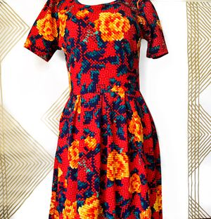LuLaRoe AMELIA Bright Red Dress Floral Yellow Gold Rose LARGE for Sale in Pembroke Pines, FL