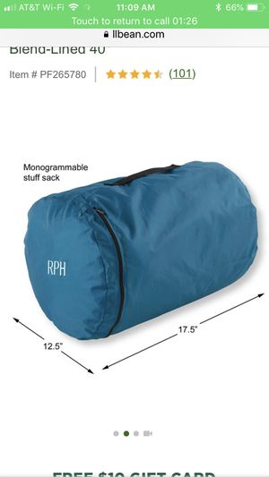 L.L. BEAN Camp Sleeping Bag, Kids' Cotton-Blend-Lined 40° for Sale in Downers Grove, IL