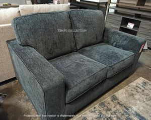 NEW, Slate Gray loveseat with Sporting Clean Lines and Sleek Track Arms. for Sale in Santa Ana, CA