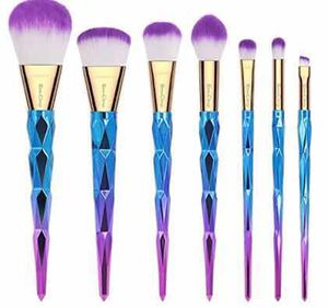 7 Pieces Colorful Diamond Patterned Shaped Handle Makeup Brush Set for Sale in Philadelphia, PA