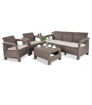 Outdoor Patio Furniture Juego de Muebles Jardín Terraza KETER Corfu Triple Set 4 Pieces 5 seated cushions for Sale in Miami, FL