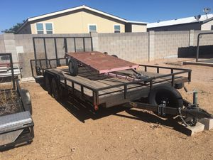 16x8 flatbed car toy hauler trailer. New tires, double ramp gate. Pulls great works great. $2250 obo. for Sale in San Tan Valley, AZ
