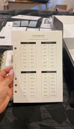 A5 insert / dashboard conversions chart / cloth and paper for Sale in La Mirada, CA