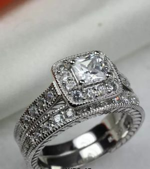 Brand new womens Stamped 18KT Solid White Gold princess cut genuine White Topaz Eternity 2 PC Engagement ring & Wedding ring set Several Sizes for Sale in New Port Richey, FL