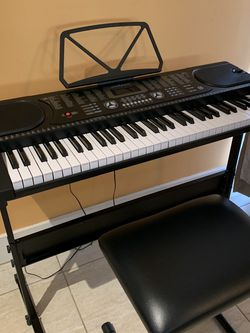 Hamzer 61-Key Portable Electronic Keyboard Piano with Stand, Stool, Headphones, Microphone for Sale in Tampa,  FL