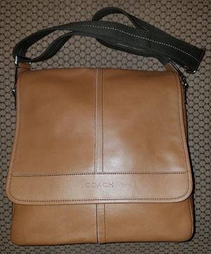 COACH Crossbody Lexington Men or Womens Map F70663 Brown Silver Leather Messenger Bag for Sale in Peoria, AZ
