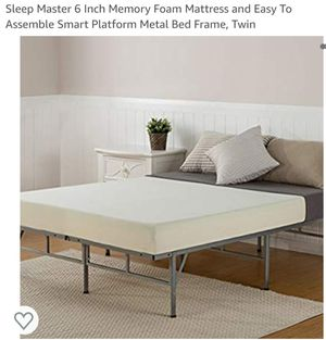 Sleep Master 6 Inch Memory Foam Mattress and Easy To Assemble Smart Platform Metal Bed Frame, Twin for Sale in Canal Winchester, OH