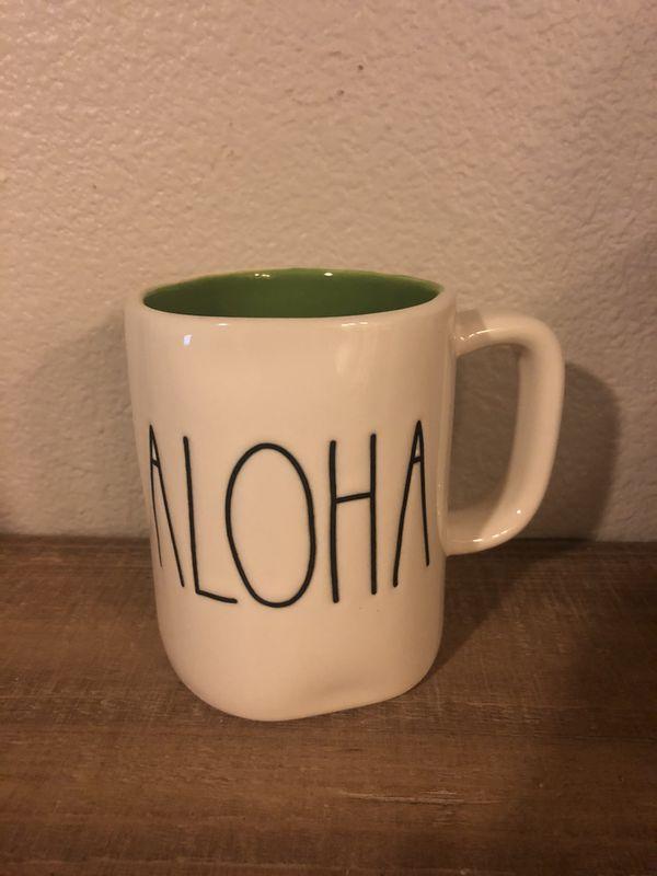 Rae Dunn Aloha Mug with Green Inside