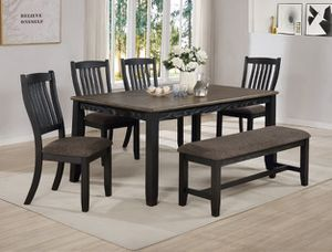 """Title: 6 Pcs Dining Set (Finance Available) Description: DINING TABLE 40"""" X 64"""" X 30""""H DINING CHAIR 18.5"""" X 18"""" X 39.8""""H JORIE BENCH 48"""" X 15.5"""" for Sale in Houston, TX"""
