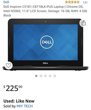 """4.3 out of 5 stars 121 Reviews Dell Inspiron C3181-C871BLK-PUS Laptop ( Chrome OS, Intel N3060, 11.6"""" LCD Screen, Storage: 16 GB, RAM: 4 GB) Black for Sale in Edison, NJ"""