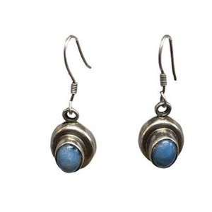 Vintage Estate 925 Mexico Blue Ice Opal Cabochon Bazel Set Drop Earrings for Sale in Ossining, NY
