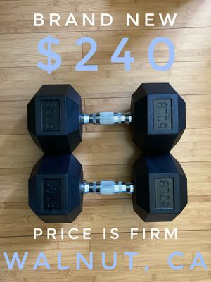 NEW Rubber Hex 50lb Dumbbell Set for Sale in Walnut, CA