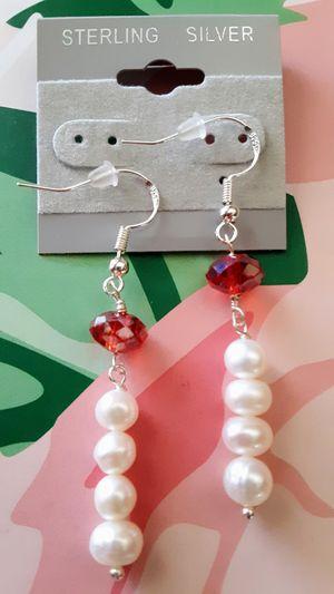New sterling silver .925 freshwater pearl dangle earrings for Sale in Fullerton, CA