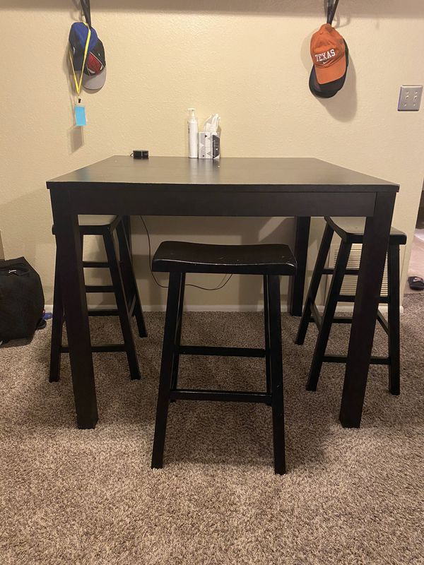Tall Black Dining Table With Bar Stools