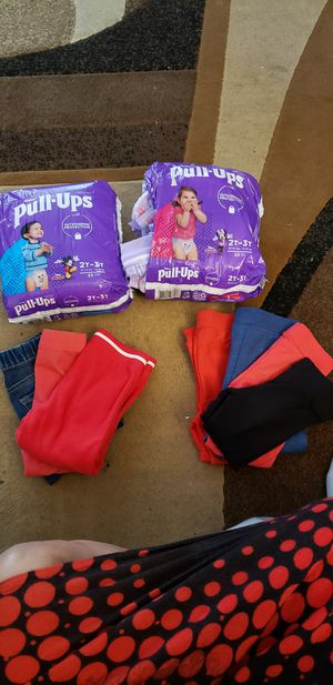 3 pants are size 18-24 months. The 4 pants are size 3. Never worn. for Sale in Beaverton, OR