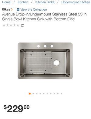 Avenue Drop-in/Undermount Stainless Steel 33 in. Single Bowl Kitchen Sink with Bottom Grid for Sale in Stone Mountain, GA