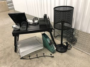 Desk organization mesh metal compartments and lamp and shelves for Sale in Lynnwood, WA