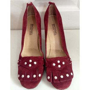 Michael Kors Crimson Suede Heels With Fringe and Stud Accents Size 8.5 for Sale in Seattle, WA