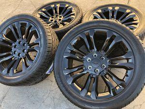 """22"""" Chevy Tahoe Silverado Suburban Avalanche Tires Black Wheels Rims for Sale in Rio Linda, CA"""