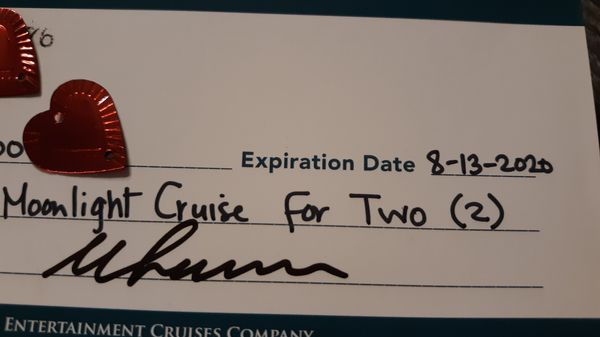 Moonlight cruise for two. VALENTINE'S DAY is coming up!!