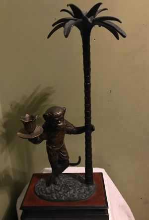 Vey Heavy table pice monkey holding on Palm Tree for Sale in Frederick, MD