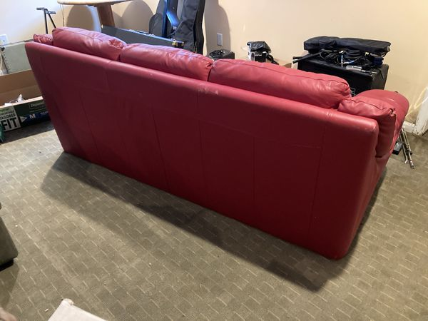 Sofa / Couch - Red Leather - In Good Shape