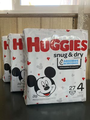 3 Huggies snug and dry size 4 diapers for Sale in Burbank, CA