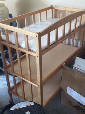 Wooden Baby Changing Table on Wheels for Sale in Dallas, TX