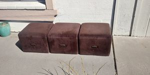 Set of Three Vintage Fur Cube Stools or Ottomans w/ Brass Handles for Sale in Glendale, AZ