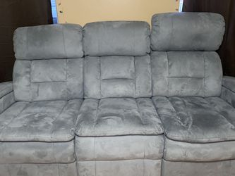 Grey/Blue Recliner 3 Seater Couch for Sale in Lemon Grove,  CA