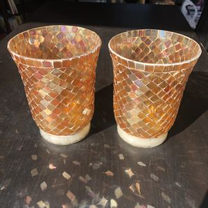 Pair of mosaic glass candle holder vases for Sale in San Mateo, CA