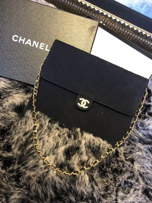 Authentic Chanel vintage jersey flap shoulder bag purse Dark blue & gold for Sale in Sacramento, CA