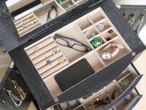 New!! Armoire, cabinet, 2 door 6 drawers cabinet w mirror, storage unit, organizer, jewelry organizer, bedroom furniture, black for Sale in Phoenix, AZ