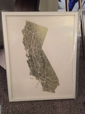 Framed CA Gold Map - Wall Decor for Sale in Garden Grove, CA