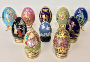 $200 - Set of 10 Handmade Handcrafted House Of Faberge Franklin Mint Decorative Collector's Eggs with Stands for Sale for sale  Des Moines, WA