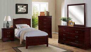 Brand new cherry or white twin bed frame + dresser + mirror + nightstand for Sale in San Diego, CA