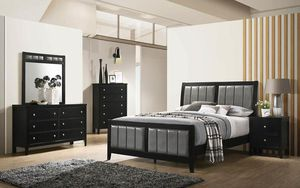 4PC QUEEN BEDROOM SET: QUEEN BED FRAME, DRESSER, MIRROR, NIGHTSTAND for Sale in Antioch, CA