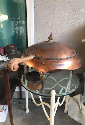 Copper large size handled serving bowl w lid & burner for Sale in Orange, CA