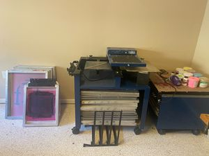 Screen printing machine with light table heater and drying rack for Sale in Marietta, GA