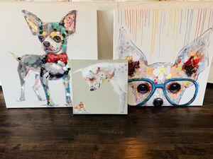 Set of Three Dog Portraits Print On Canvas Fun Modern Dog Art for Sale in Fresno, CA