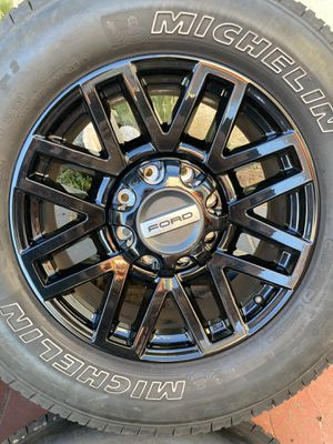"""Black 20"""" Ford F-250 F250 Sport Wheels and Michelin tires Rims F-350 super duty HD for Sale in Los Angeles, CA"""