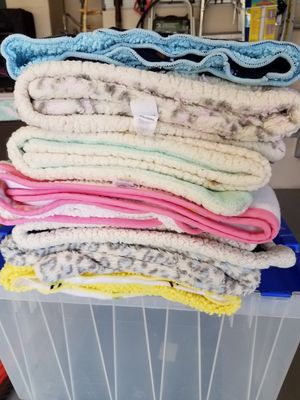 Box of 10 small fleece throws / blankets for Sale in Cape Coral, FL