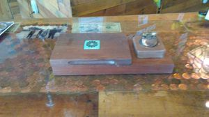 Antique wood desk smoker set with light for Sale in Kissimmee, FL