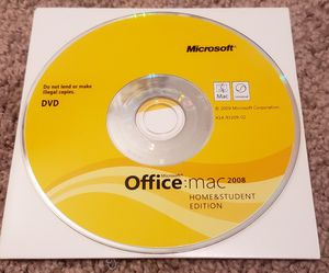 2008 MS Office Install Disk for Mac (Home and Student) for Sale in Seattle, WA